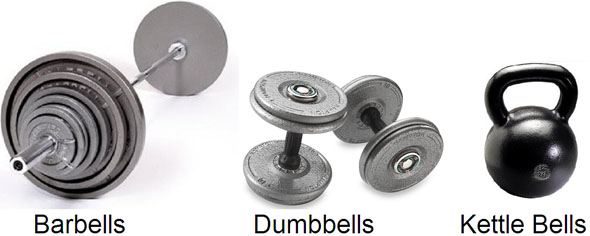 Free weights barbells dumbbells kettle bells