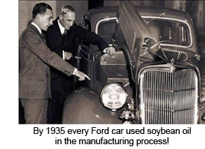 1935 Ford Cars used soybean oil in the manufacturing process.
