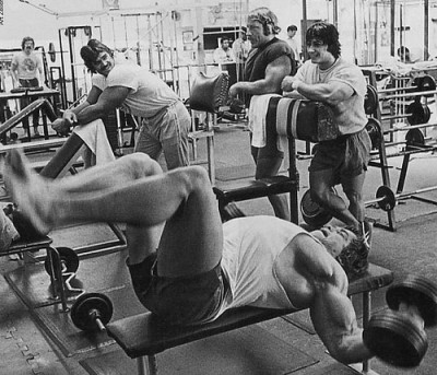 Arnold Doing Dumbbell Chest Flyes