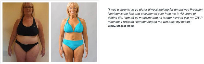 Cindy lost 70 pounds.