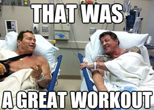 Arnold Schwarzenegger and Sylvester Stallone in hospital