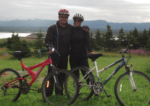 Lee & Trish Mountain Biking on the Northern Peninsula of Newfoundland.