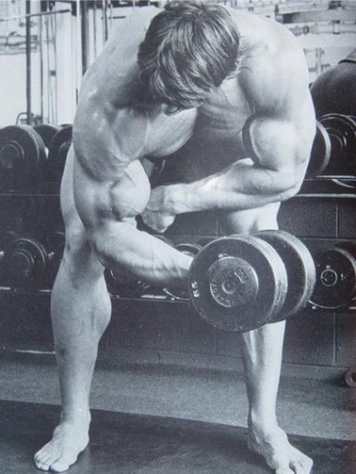 Arnold Doing Bicep Curls