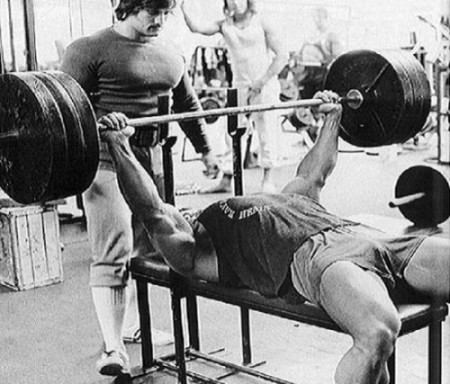 Arnold Doing The Bench Press